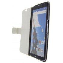 Open - Hoesje Motorola Nexus 6 flip wallet wit