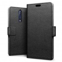 Hoesje Nokia 8 flip wallet zwart