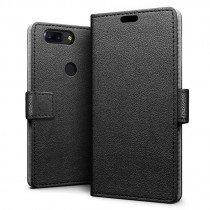Hoesje OnePlus 5T flip wallet zwart - voorkant hoesje