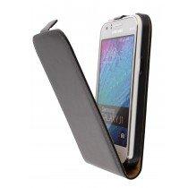 Hoesje Samsung Galaxy J1 flip case dual color zwart - Open