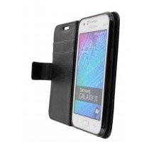 Hoesje Samsung Galaxy J1 flip wallet zwart - Open
