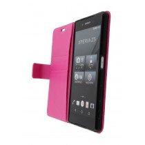 Hoesje Sony Xperia Z5 flip wallet roze