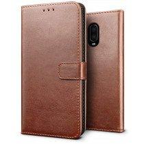 Luxury book case OnePlus 6T bruin