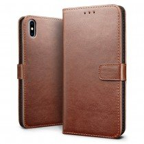 Luxury wallet hoesje Apple iPhone X bruin