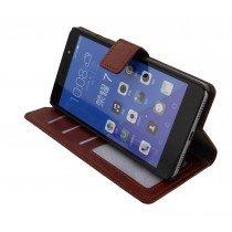 Luxury wallet hoesje Huawei Honor 7 bruin