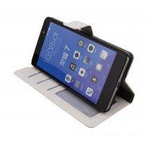 Luxury wallet hoesje Huawei Honor 7 wit