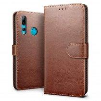Luxury wallet hoesje Huawei P Smart+ 2019 bruin