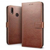 Luxury wallet hoesje Huawei P20 bruin