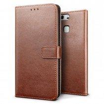 Luxury wallet hoesje Huawei P9 bruin