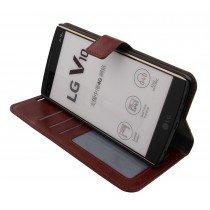 Luxury wallet hoesje LG V10 bruin