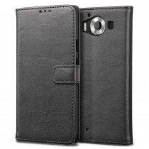 Luxury wallet hoesje Microsoft Lumia 950 zwart