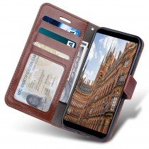 Luxury wallet hoesje Motorola Moto G6 Plus bruin