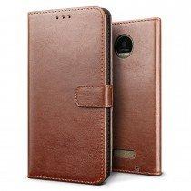 Luxury wallet hoesje Motorola Moto Z bruin