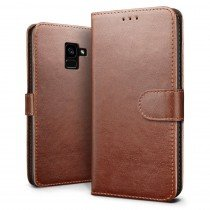 Luxury wallet hoesje Samsung Galaxy A8 2018 bruin