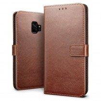 Luxury wallet hoesje Samsung Galaxy S9 bruin