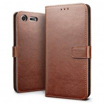 Luxury wallet hoesje Sony Xperia XZ1 Compact bruin