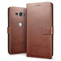 Luxury wallet hoesje Sony Xperia XZ2 Compact bruin