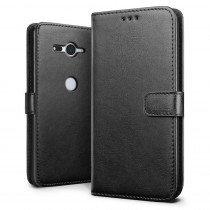 Luxury wallet hoesje Sony Xperia XZ2 Compact zwart