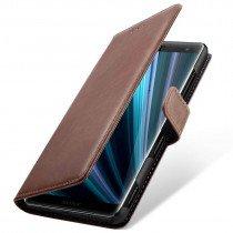 Luxury wallet hoesje Sony Xperia XZ3 bruin