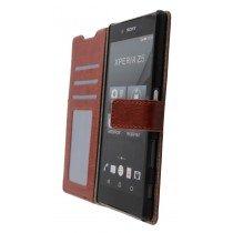 Open - Luxury wallet hoesje Sony Xperia Z5 bruin