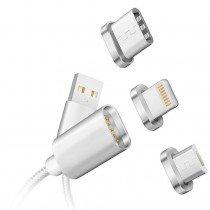 Magnetische laadkabel wit 3 in 1 - Micro USB - USB-C - Lightning