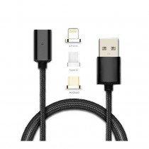 Magnetische laadkabel zwart 3 in 1 - Micro USB - USB-C - Lightning