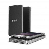 QI draadloze powerbank batterij zwart - 2x USB - 10000 mAh