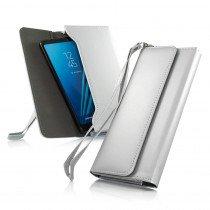 Smartphone clutch etui universeel zilver/grijs tot 6.0 inch