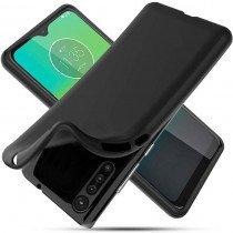 Softcase hoesje Motorola Moto G8 Plus mat - zwart