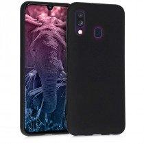 Softcase hoesje Samsung Galaxy A40 mat - zwart