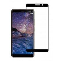 Tempered Glass (volledig scherm) Nokia 7 Plus zwart