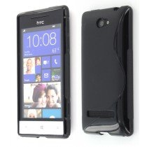 Silicon TPU case HTC 8S zwart