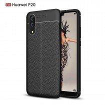 TPU hoesje leer Huawei P20 zwart