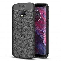 TPU hoesje leer Motorola Moto G6 Plus zwart