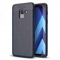 TPU hoesje leer Samsung Galaxy A8 2018 donker blauw