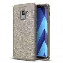 TPU hoesje leer Samsung Galaxy A8+ 2018 beige/taupe