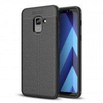 TPU hoesje leer Samsung Galaxy A8+ 2018 zwart