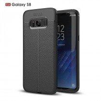 TPU hoesje leer Samsung Galaxy S8 Plus zwart