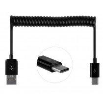 USB-C kabel met uitrekbaar krulsnoer zwart
