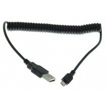 Micro USB kabel met uitrekbaar krulsnoer zwart
