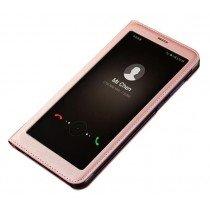 View cover leer Huawei Mate 10 Lite rose goud
