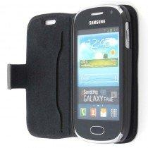 Wallet case leer Samsung Galaxy Fame S6810 zwart
