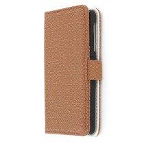 Wallet case fabric LG Nexus 5 donker bruin