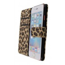 Open - Wallet case tijgerprint Apple iPhone 6S bruin
