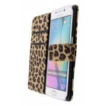 Wallet case tijgerprint Samsung Galaxy S6 Edge bruin - Open